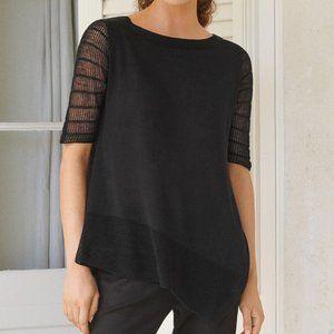 Poetry Dipped Hem Linen Sweater Black Sz 10